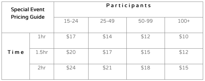 Pricing guide for special events.