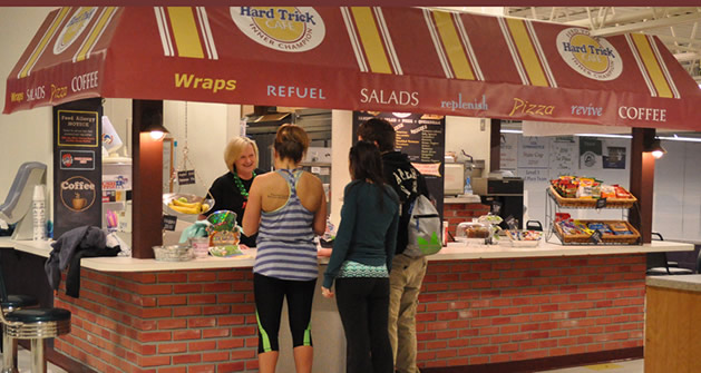 Customers getted food at the Hard Trick Cafe located inside Gigueres gym.