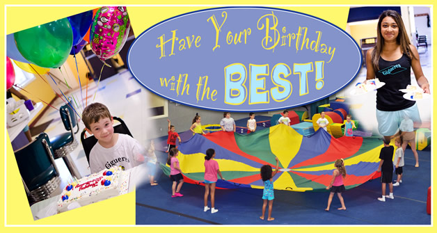 Birthday banner for Gigueres gym, including ballons, cake, and gym fun.